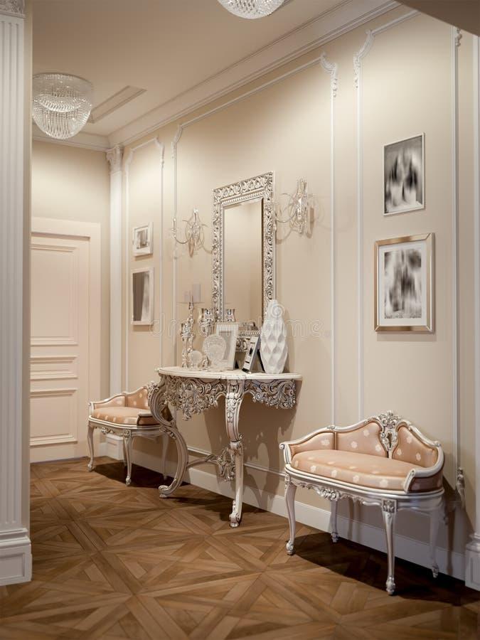 Elegante klassieke en luxueuze zaal royalty-vrije stock foto's