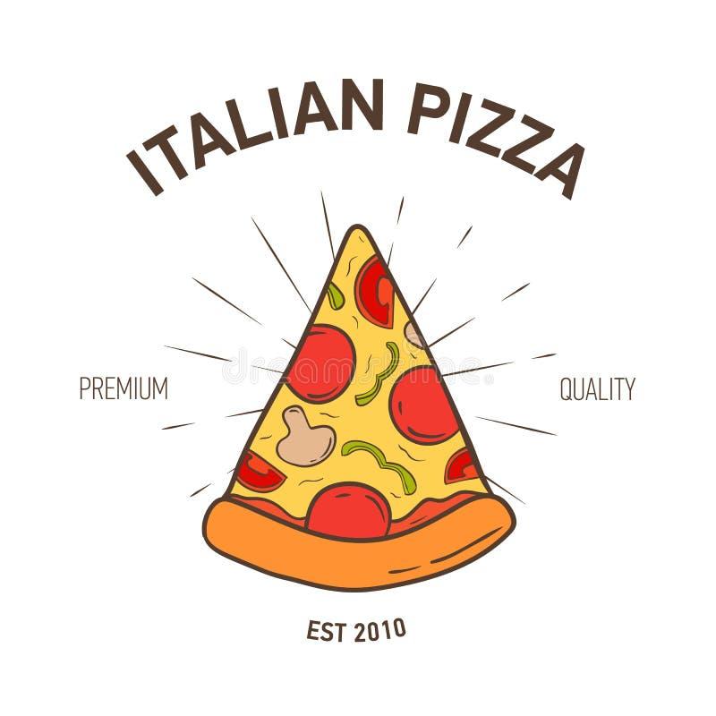 Elegante logotype met pizzaplak en radiale stralen op witte achtergrond Gekleurde vectordieillustratiehand in wijnoogst wordt get stock illustratie