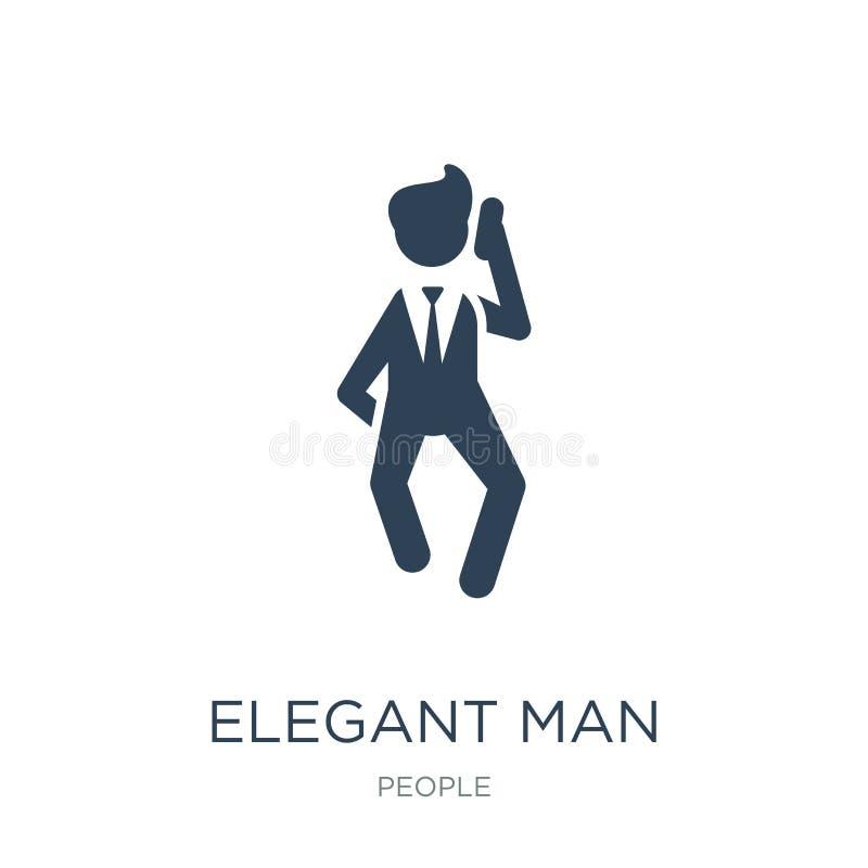 elegante mens die door telefoonpictogram spreken in in ontwerpstijl elegante mens die door telefoonpictogram spreken die op witte vector illustratie