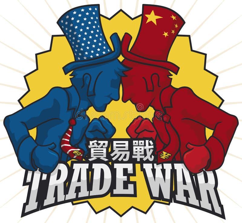Elegante Mensen die gepast China en U bestrijden S A Handelsoorlog, Vectorillustratie stock illustratie