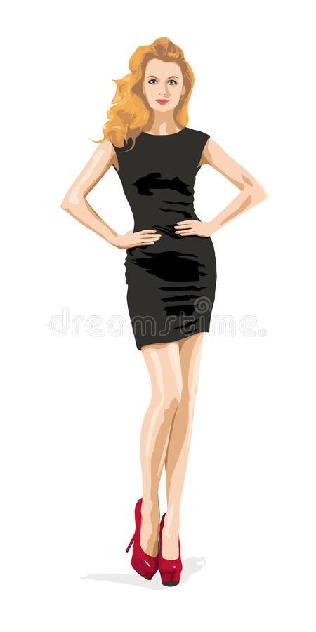 Elegante Mode-Frau im schwarzen Kleid Weibliches Modell stockbilder