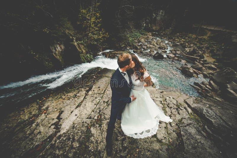 Elegante modieuze gelukkige donkerbruine bruid en schitterende bruidegom op B stock foto's