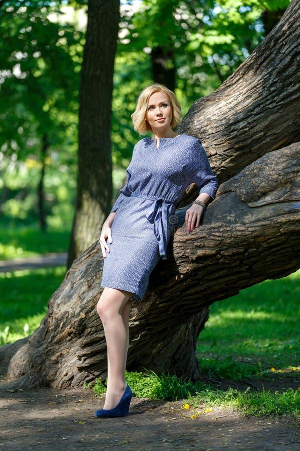 Elegante modieuze jonge vrouw die zich dichtbij grote boom bevinden royalty-vrije stock afbeeldingen