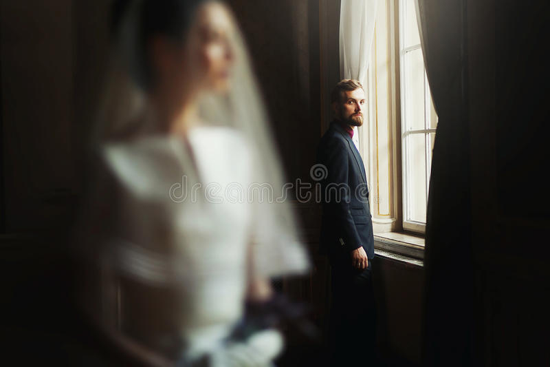 Elegante modieuze knappe bruidegom die schitterende bruid, standi bekijken stock fotografie