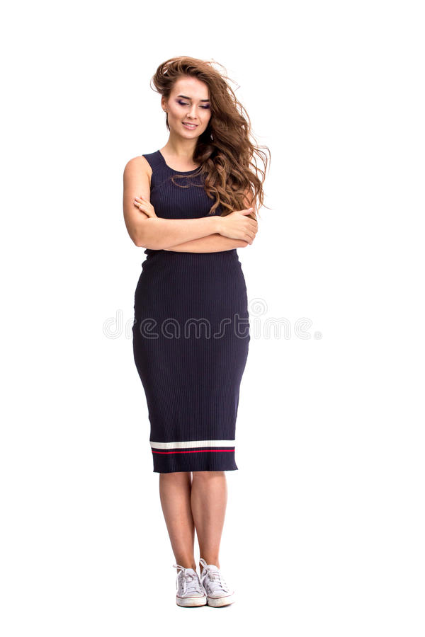 Elegante modieuze vrouw in blauwe kleding royalty-vrije stock afbeelding