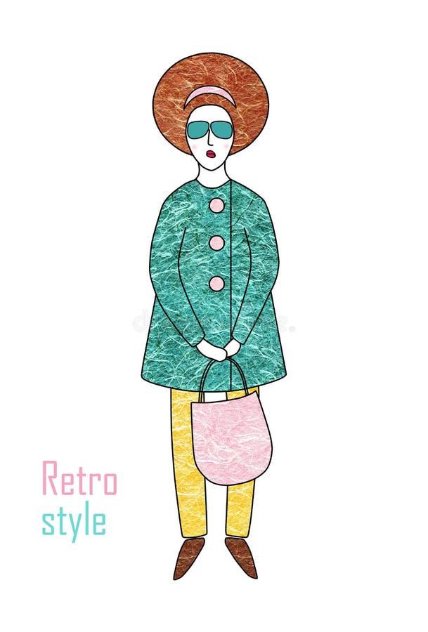 Elegante modieuze vrouw in een laag en broeken Retro stijl royalty-vrije illustratie
