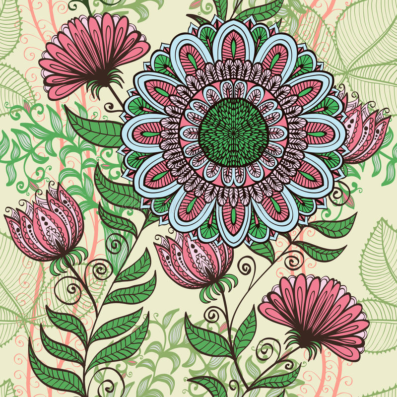 Elegante naadloze groene en roze bloemenachtergrond vector illustratie
