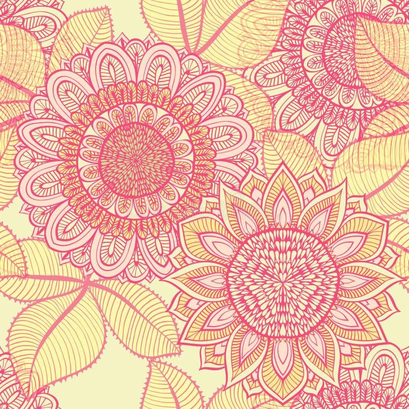 Elegante naadloze roze bloemenachtergrond vector illustratie