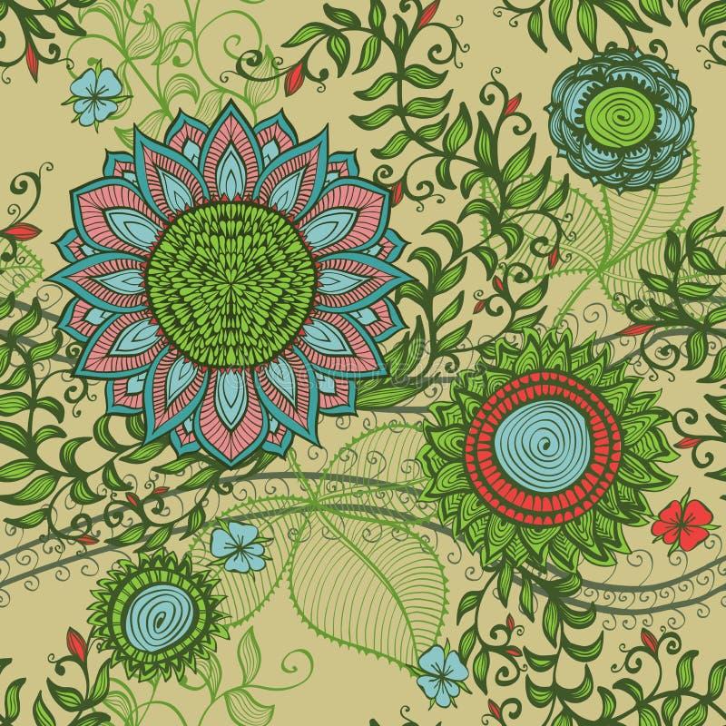Elegante naadloze uitstekende bloemenachtergrond stock illustratie