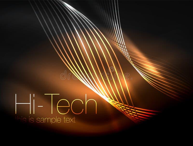 Elegante neon stromende strepen, vlotte golven met lichteffecten stock illustratie