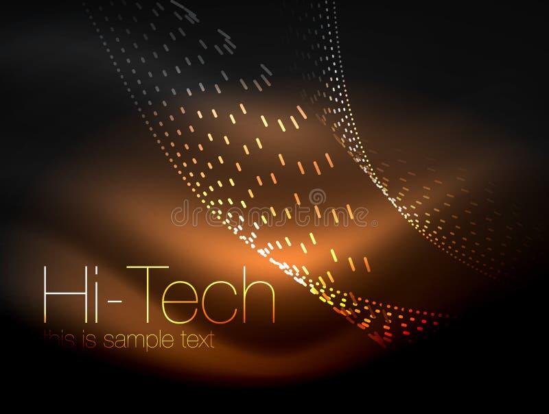 Elegante neon stromende strepen, vlotte golven met lichteffecten vector illustratie