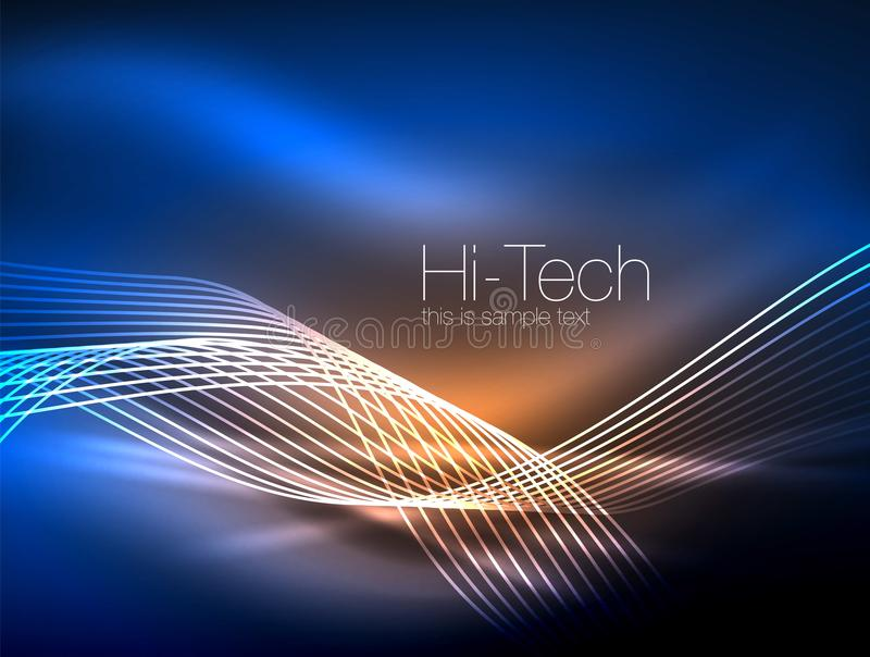 Elegante neon stromende strepen, vlotte golven met lichteffecten royalty-vrije illustratie