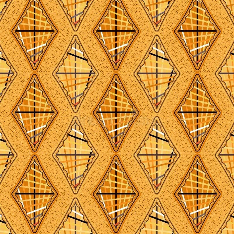Elegante oranje diamanten in een naadloos patroon met diagonale strepen vector illustratie
