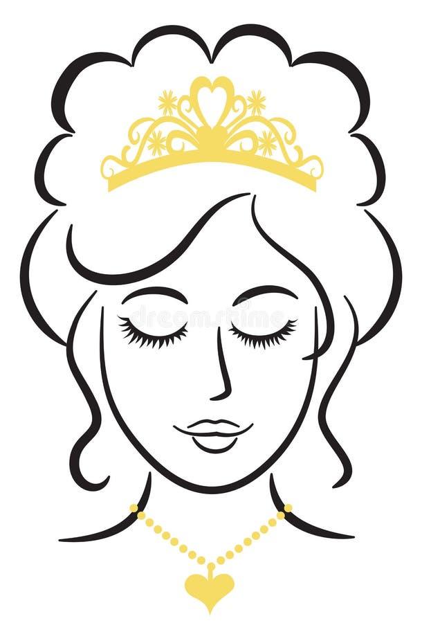 Elegante Prinzessin With Tiara/ENV stock abbildung