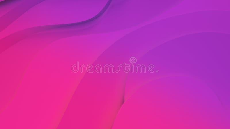 Elegante purpere en roze neonkleur hulp Abstracte topografische achtergrond Mooi vloeibaar ontwerp de chaotische linten leiden to stock illustratie