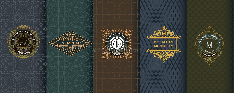 Elegante reeks ontwerpelementen, etiketten, pictogram, kaders, naadloze achtergronden stock illustratie