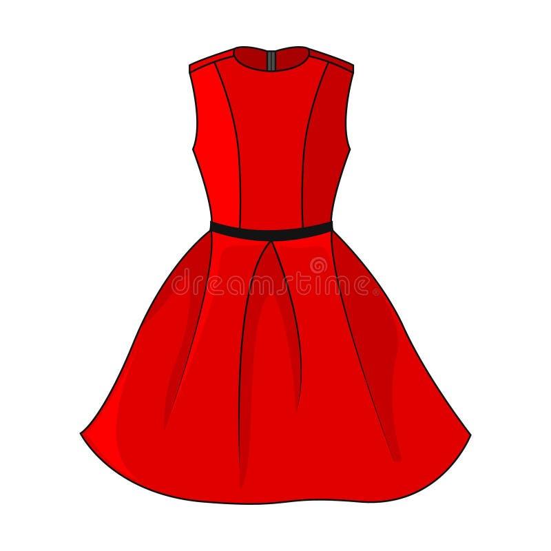 Elegante rote Kleiderikone Schönes kurzes rotes Kleid mit dem schwarzen/grauen Gurt, lokalisiert auf weißem Hintergrund vektor abbildung