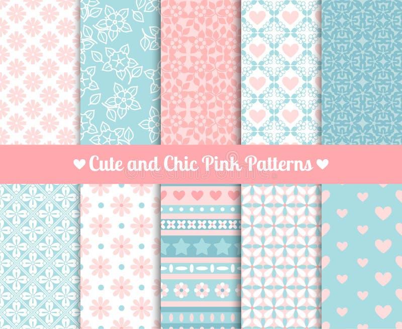 Elegante Roze en blauwe Patronen vector illustratie