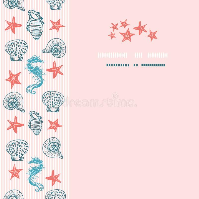Elegante roze en blauwe seahorse en het malplaatje van de van de zeeschelpkaart of brochure vector illustratie
