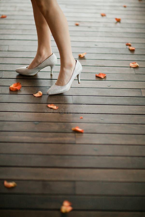 Elegante schoenen op hielen in zilveren kleur op het been van de vrouw - Bloemblaadjes voor rozen rond stock afbeelding