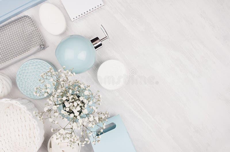 Elegante schoonheidsmiddelenreeks toebehoren voor schoonheidsverzorging - zeep, handdoek, automaat, blauwe kommen, zilveren kosme royalty-vrije stock foto's