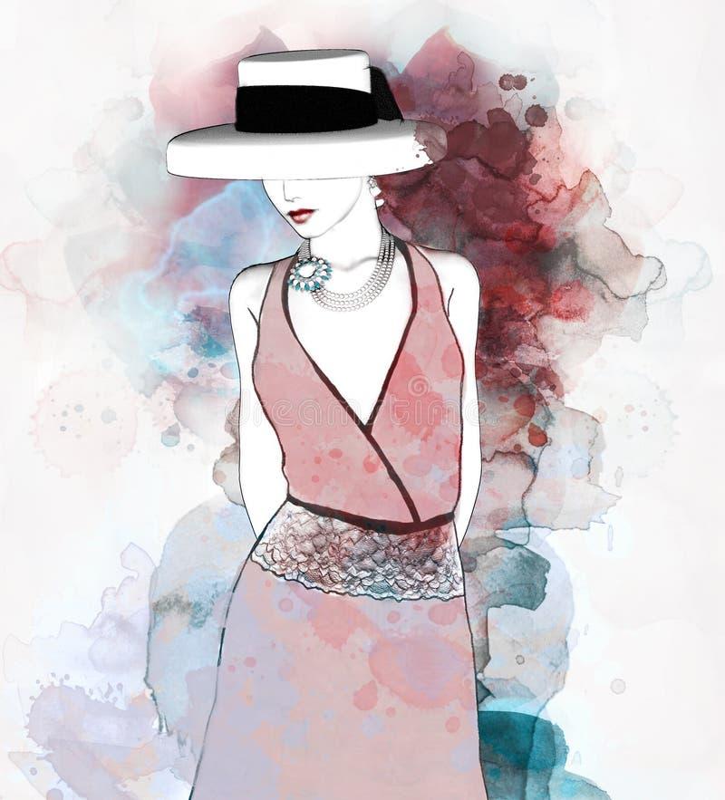Elegante senza tempo di una signora illustrazione di stock