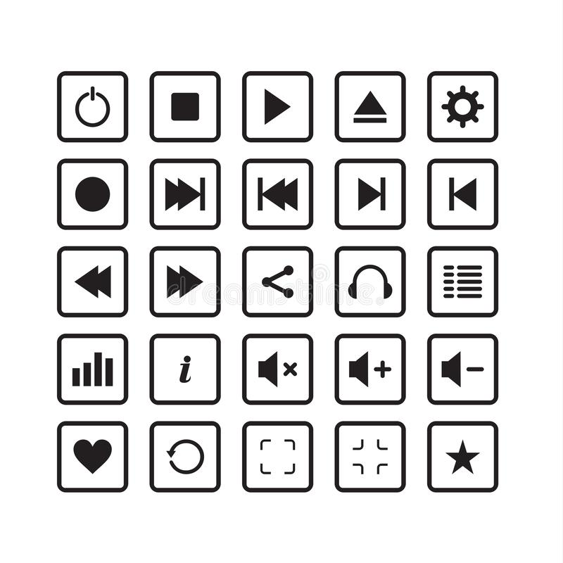 elegante simple del paquete del sistema audio del icono stock de ilustración