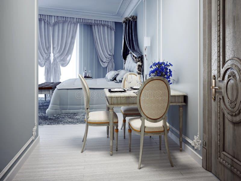 Elegante slaapkamer met eettafel stock afbeeldingen