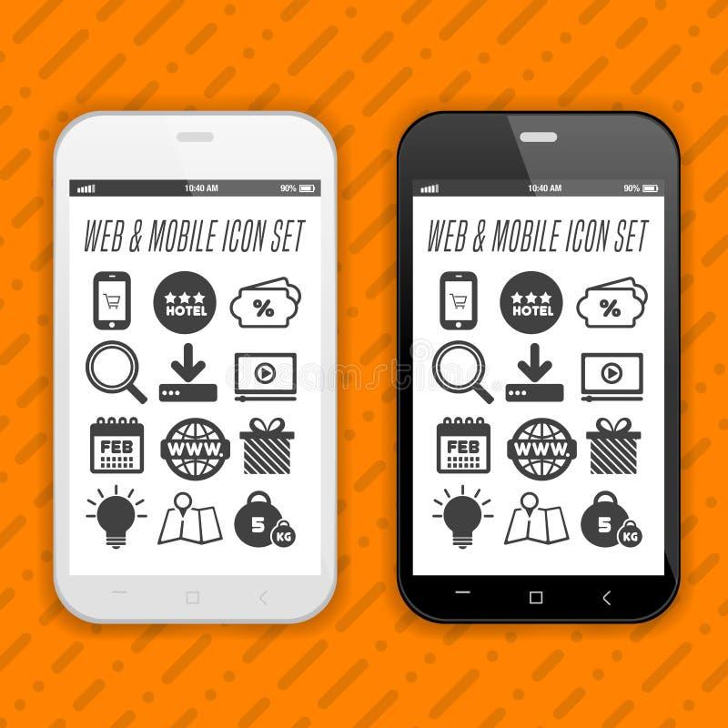 Elegante Smartphones mit Ikonen, Anwendungen Handy realistisch lizenzfreie abbildung