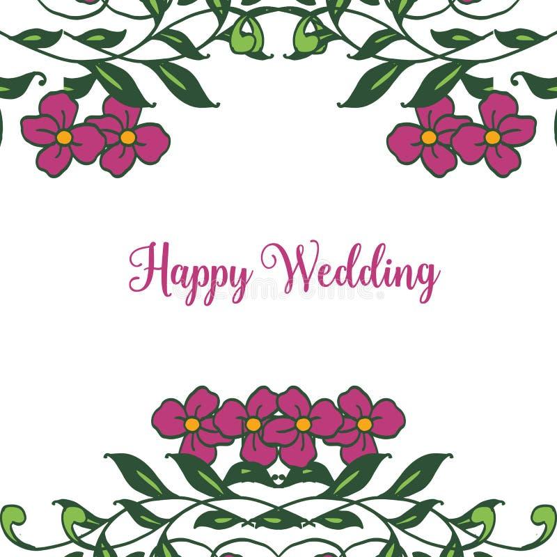 Elegante uitnodigingskaarten, het van letters voorzien van gelukkig huwelijk, uitstekend bloemkader Vector stock illustratie