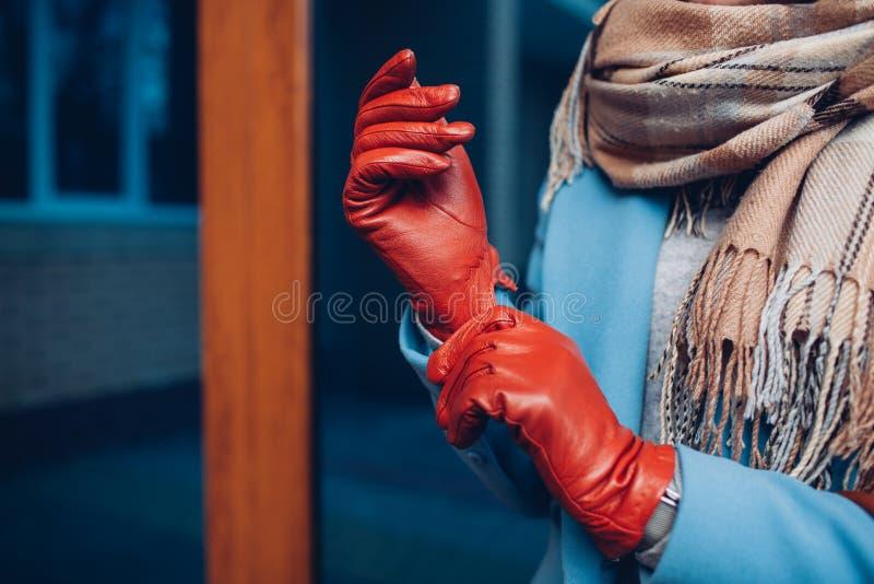 Elegante uitrusting Close-up van van modieuze vrouw in laag, sjaal en bruine handschoenen Modieus meisje op de straat stock fotografie