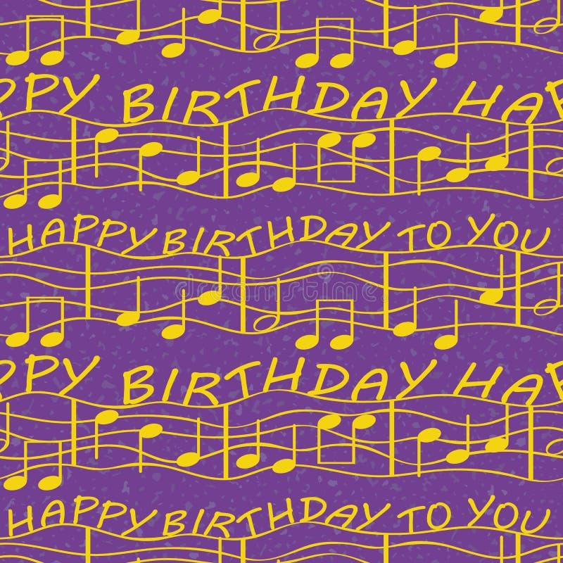 Elegante und einfache Geburtstagsglückwünsche mit musikalischen Anmerkungen Nahtloses Vektormuster im luxuriösen Purpur und im Go lizenzfreie abbildung