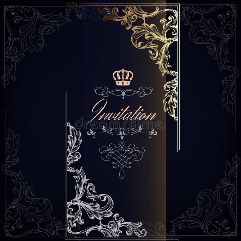 Elegante und Luxuseinladungskarte mit Strudeln stock abbildung
