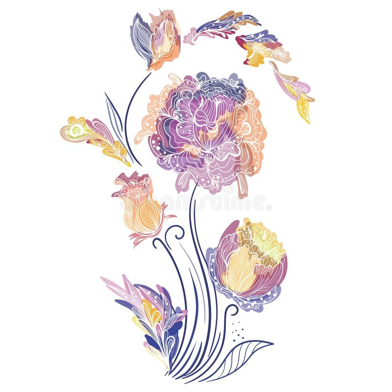 Elegante Vektor-Vignette Mit Skizzen-Blumen Vektor Abbildung ...