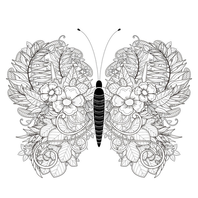 Elegante vlinder kleurende pagina stock illustratie