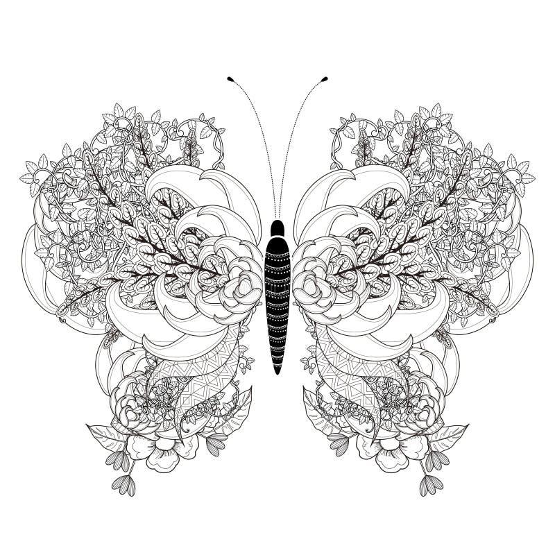 Elegante vlinder kleurende pagina royalty-vrije illustratie