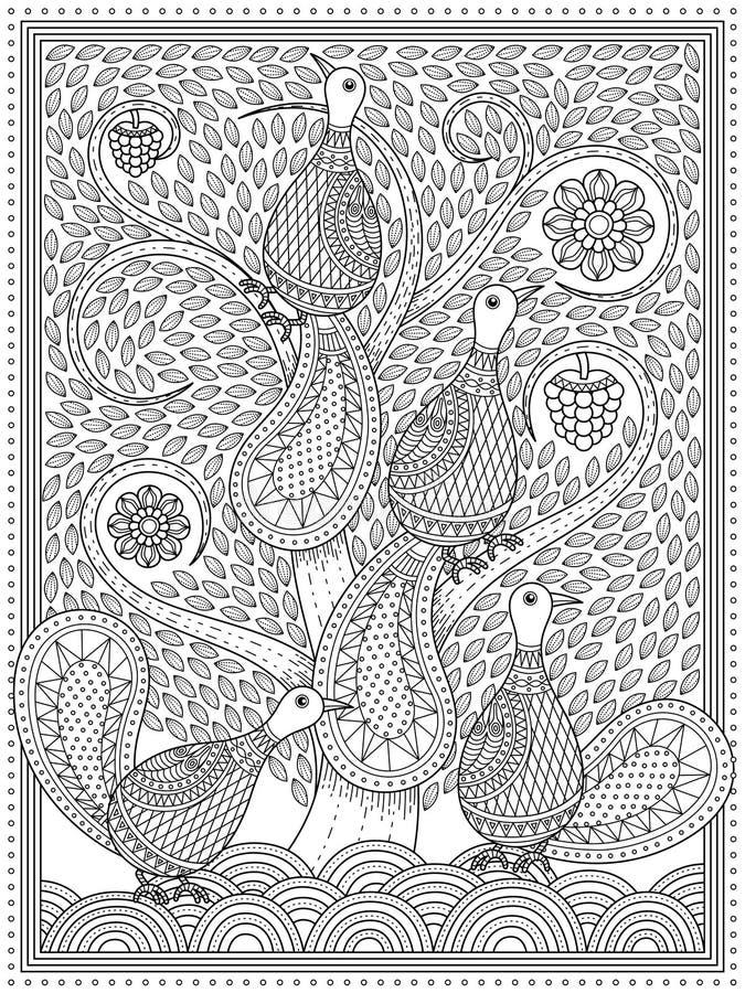 Elegante volwassen kleurende pagina royalty-vrije illustratie