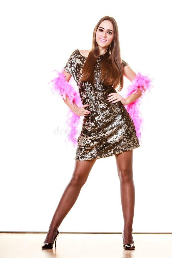 Elegante vrouw in de kleding van het avondlovertje royalty-vrije stock afbeelding