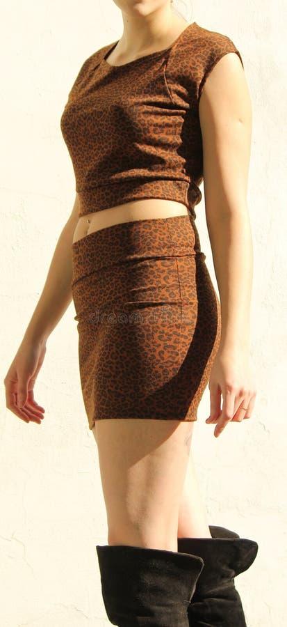 Elegante vrouw in luipaardkleding stock fotografie