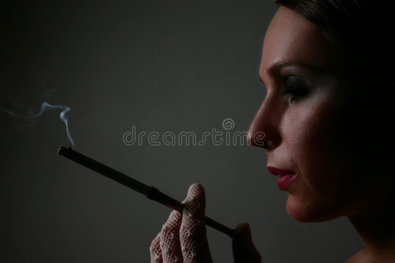 Download Elegante vrouw met sigaret stock foto. Afbeelding bestaande uit gehuld - 294790