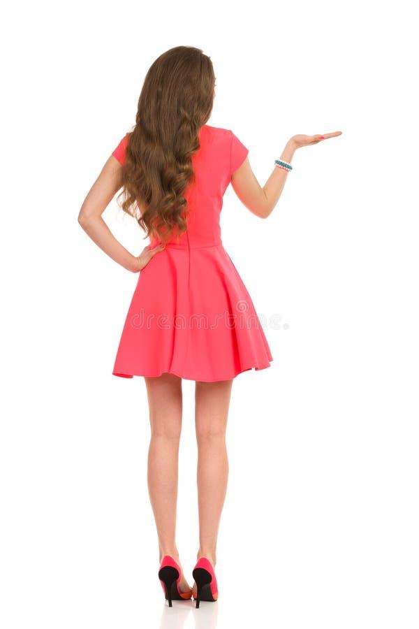 Elegante Vrouw in Roze Mini Dress Presenting Achter mening royalty-vrije stock fotografie