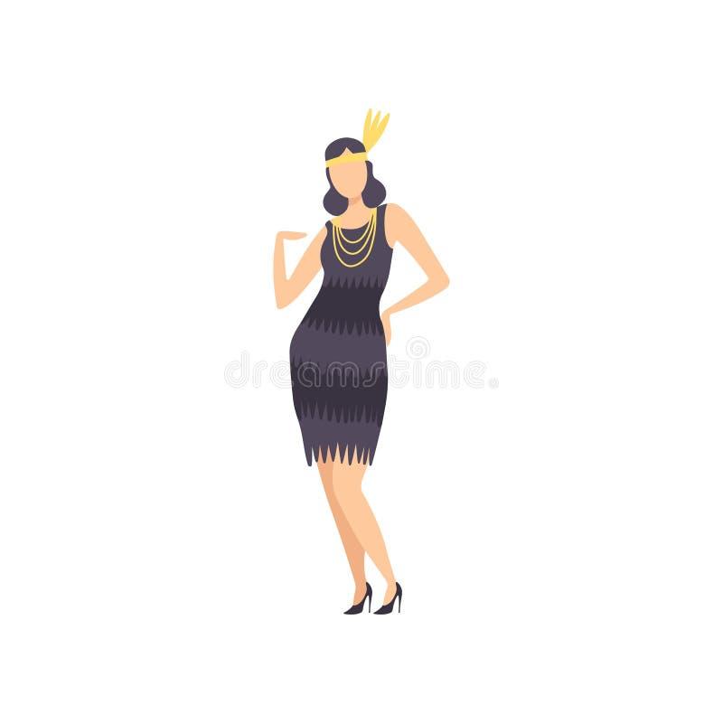 Elegante Vrouw in Zwarte Retro Kleding en Uitstekende Juwelen, Maskeradebal, Carnaval-het Elementenvector van het Partijontwerp royalty-vrije illustratie