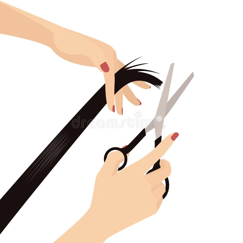 Elegante Vrouwenhanden die Haar, de Schaar van de Handholding en het Haar van de Handholding, Schoonheidssalon, Kapper, Haarsalon stock illustratie