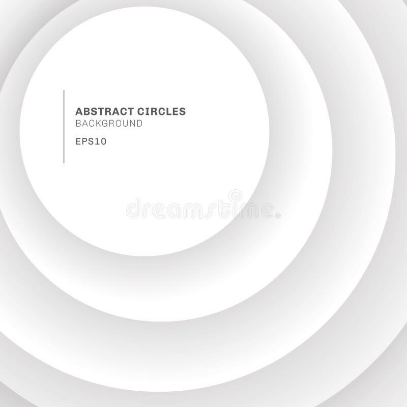 Elegante weiße Kreise des Zusammenfassungshintergrundes, die mit Schatten überschneiden lizenzfreie abbildung