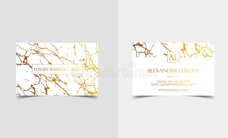 Elegante weiße Luxusvisitenkarten mit Marmorbeschaffenheit und Golddetail vector Schablone, Fahne oder Einladung mit vektor abbildung