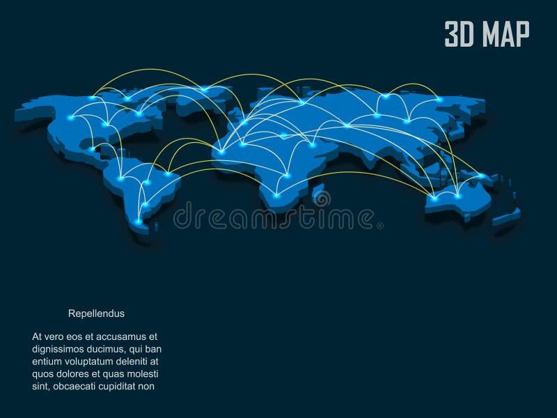 Elegante Weltkarte Vektor des Blaus 3d lizenzfreie abbildung