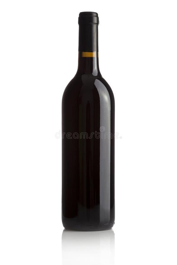 Elegante wijnfles op witte achtergrond stock foto's