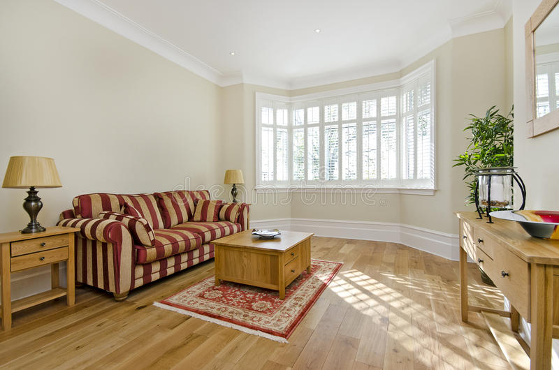 Elegante woonkamer met aardig meubilair stock foto's