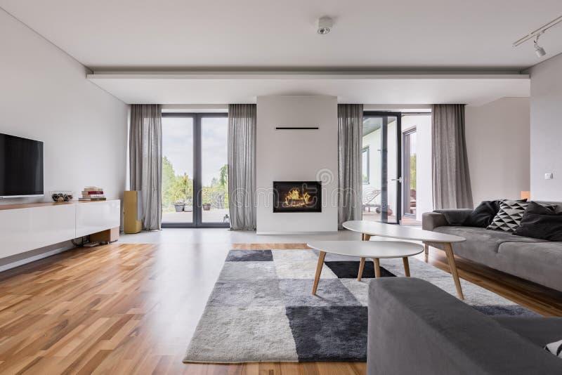Elegante woonkamer met open haard stock foto