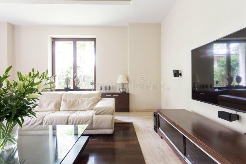 Elegante woonkamer met witte laag royalty-vrije stock foto